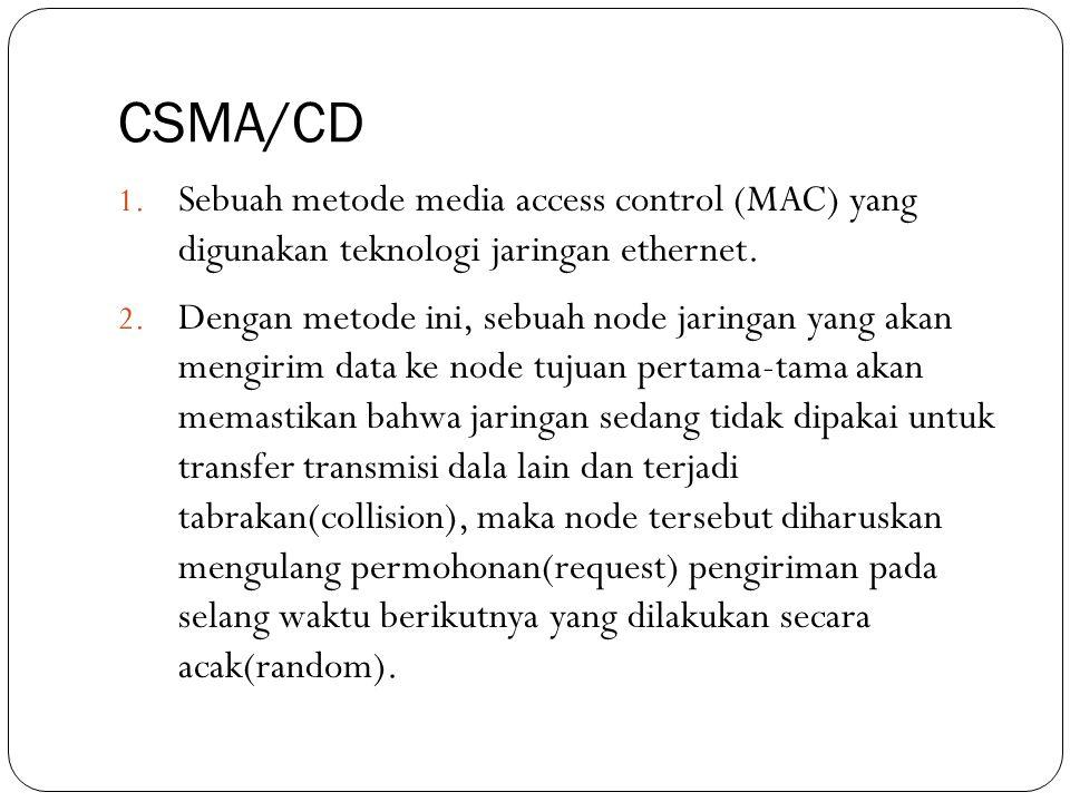 CSMA/CD Sebuah metode media access control (MAC) yang digunakan teknologi jaringan ethernet.