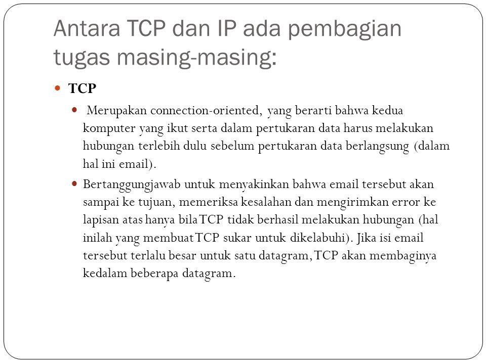 Antara TCP dan IP ada pembagian tugas masing-masing:
