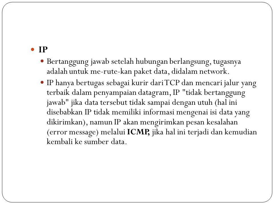 IP Bertanggung jawab setelah hubungan berlangsung, tugasnya adalah untuk me-rute-kan paket data, didalam network.