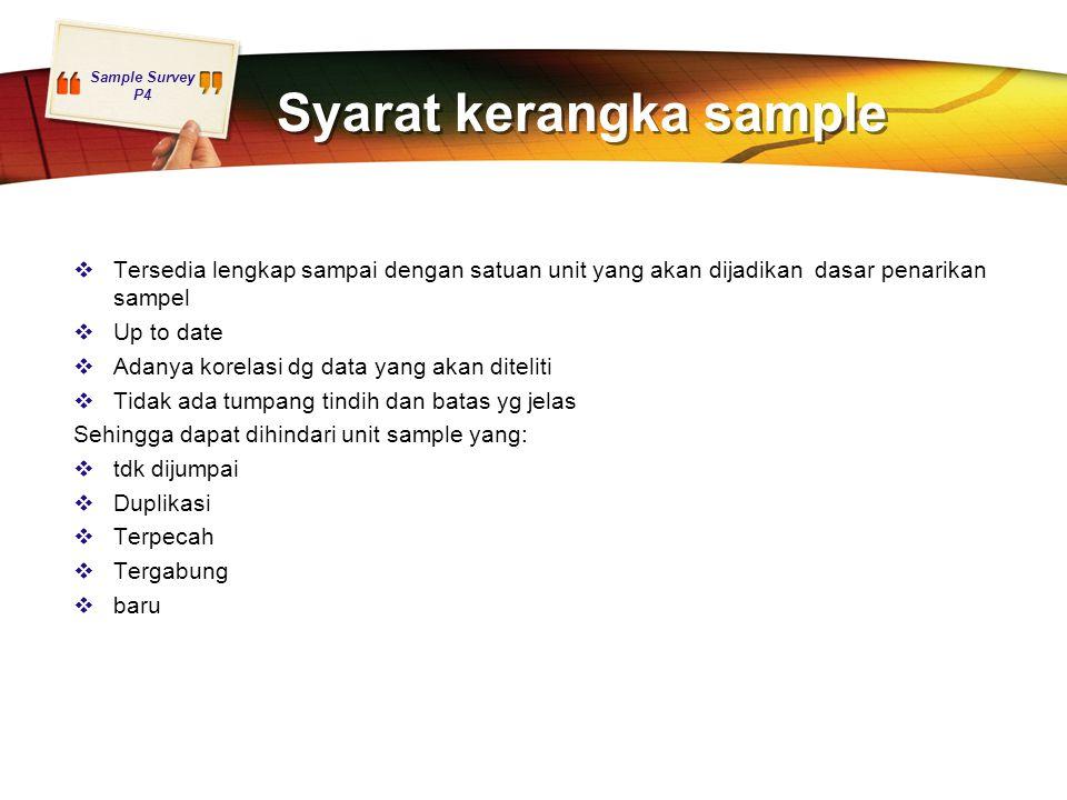 Syarat kerangka sample