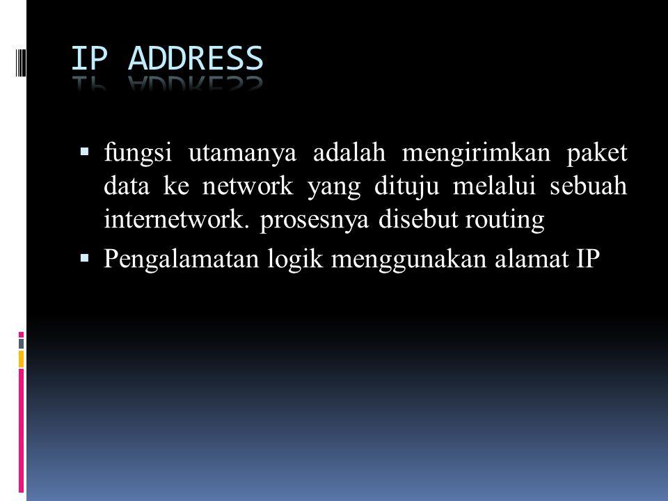 IP ADDRESS fungsi utamanya adalah mengirimkan paket data ke network yang dituju melalui sebuah internetwork. prosesnya disebut routing.