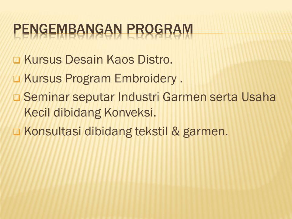 Pengembangan program Kursus Desain Kaos Distro.