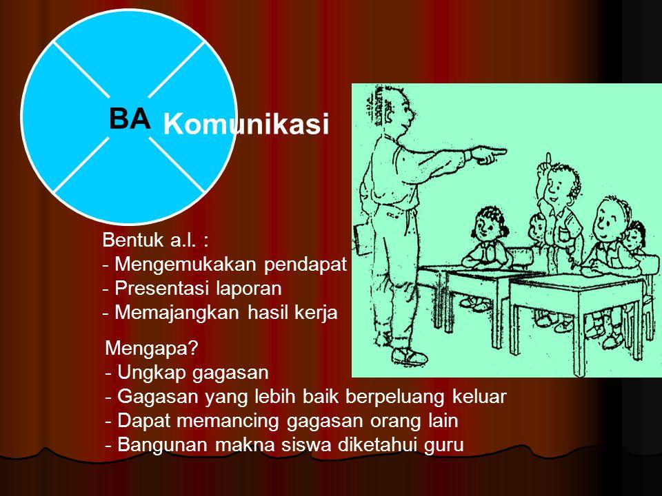 BA Komunikasi. Bentuk a.l. : - Mengemukakan pendapat - Presentasi laporan - Memajangkan hasil kerja.
