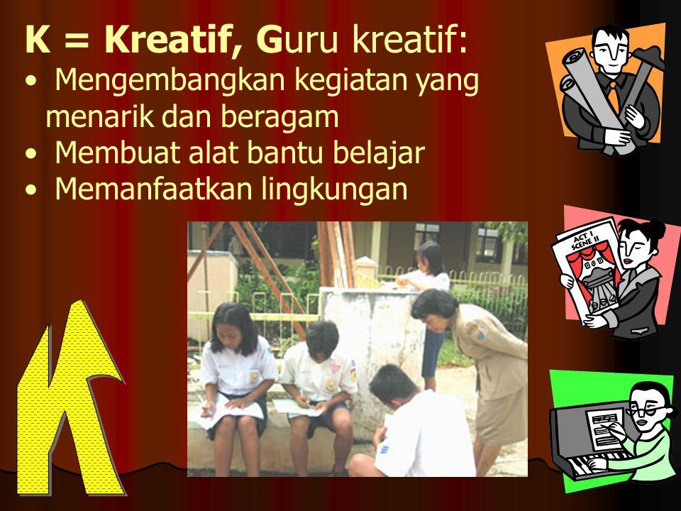 K = Kreatif, Guru kreatif: