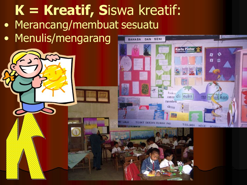 K = Kreatif, Siswa kreatif: