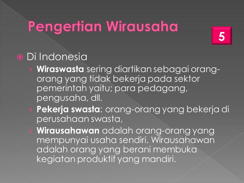 Pengertian Wirausaha Di Indonesia