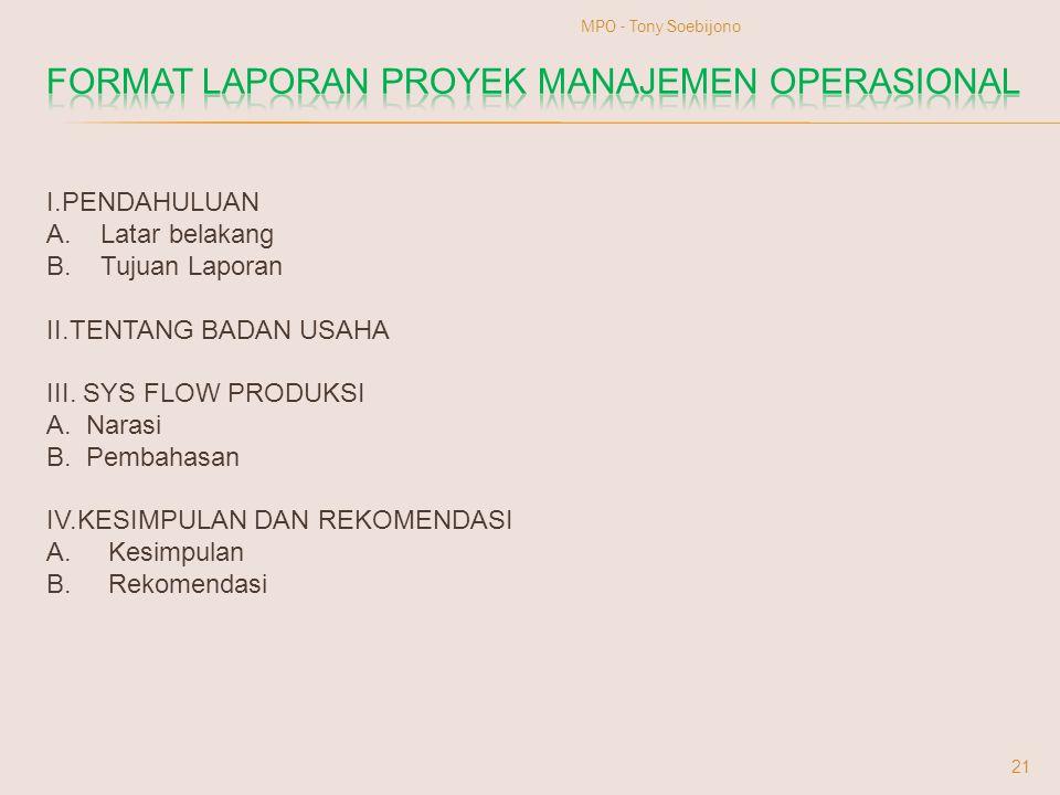 FORMAT LAPORAN PROYEK MANAJEMEN OPERASIONAL