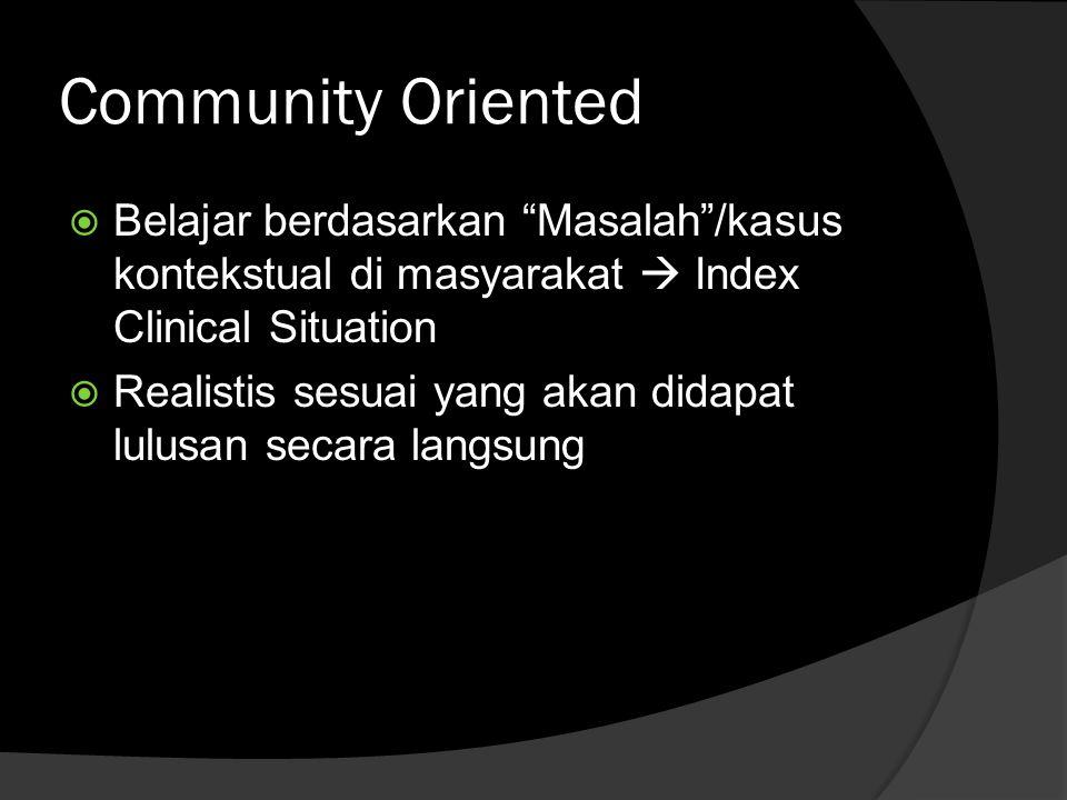 Community Oriented Belajar berdasarkan Masalah /kasus kontekstual di masyarakat  Index Clinical Situation.