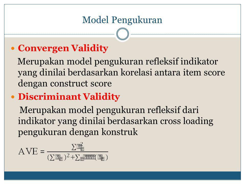 Model Pengukuran Convergen Validity