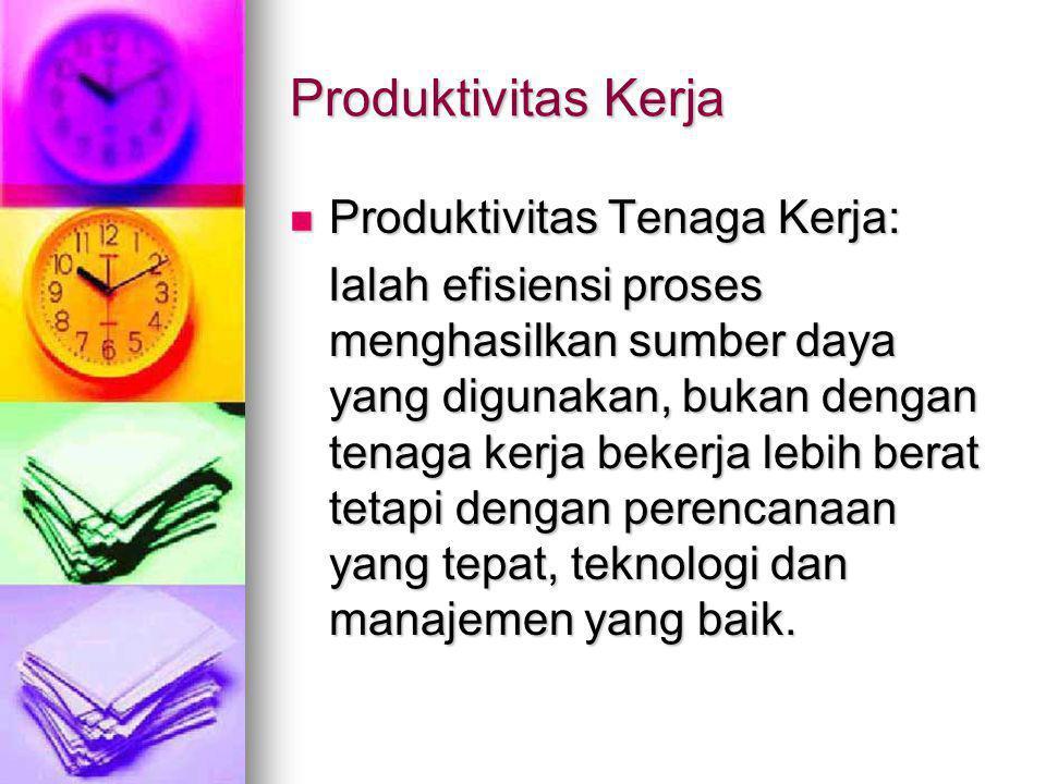 Produktivitas Kerja Produktivitas Tenaga Kerja: