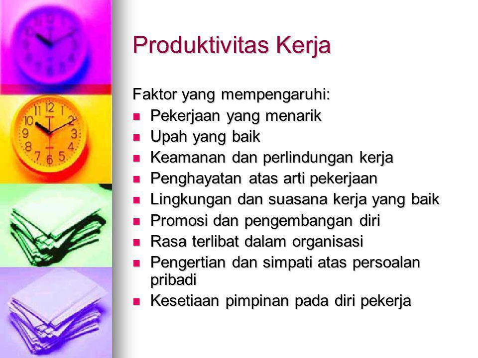 Produktivitas Kerja Faktor yang mempengaruhi: Pekerjaan yang menarik