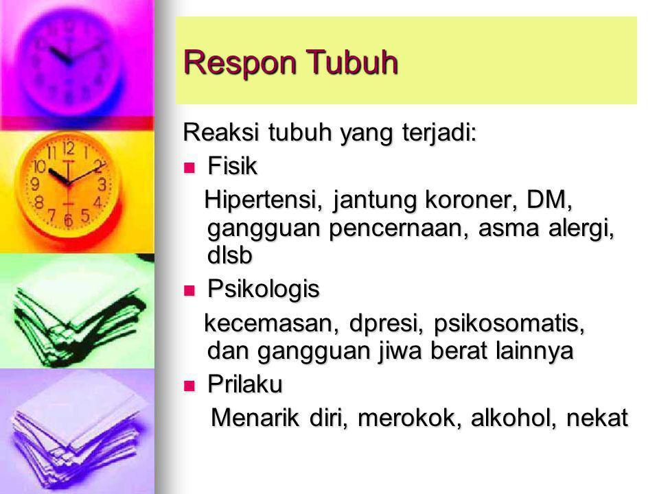 Respon Tubuh Reaksi tubuh yang terjadi: Fisik