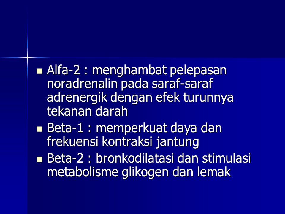 Alfa-2 : menghambat pelepasan noradrenalin pada saraf-saraf adrenergik dengan efek turunnya tekanan darah