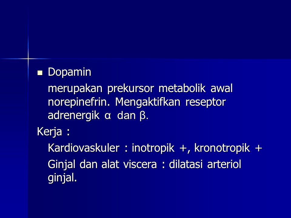 Dopamin merupakan prekursor metabolik awal norepinefrin. Mengaktifkan reseptor adrenergik α dan β.