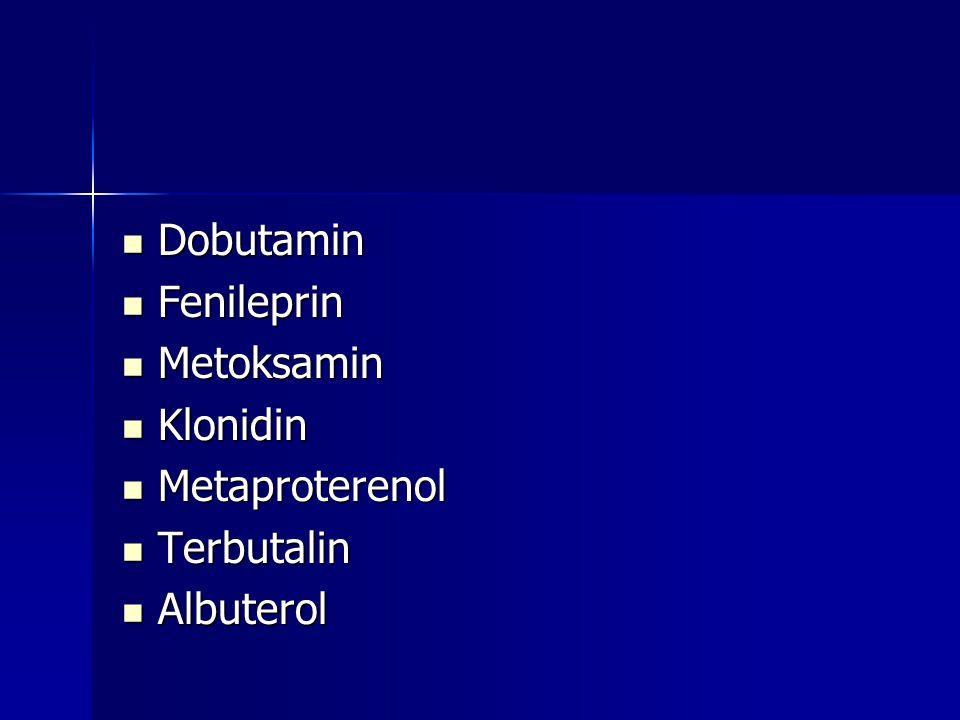 Dobutamin Fenileprin Metoksamin Klonidin Metaproterenol Terbutalin Albuterol
