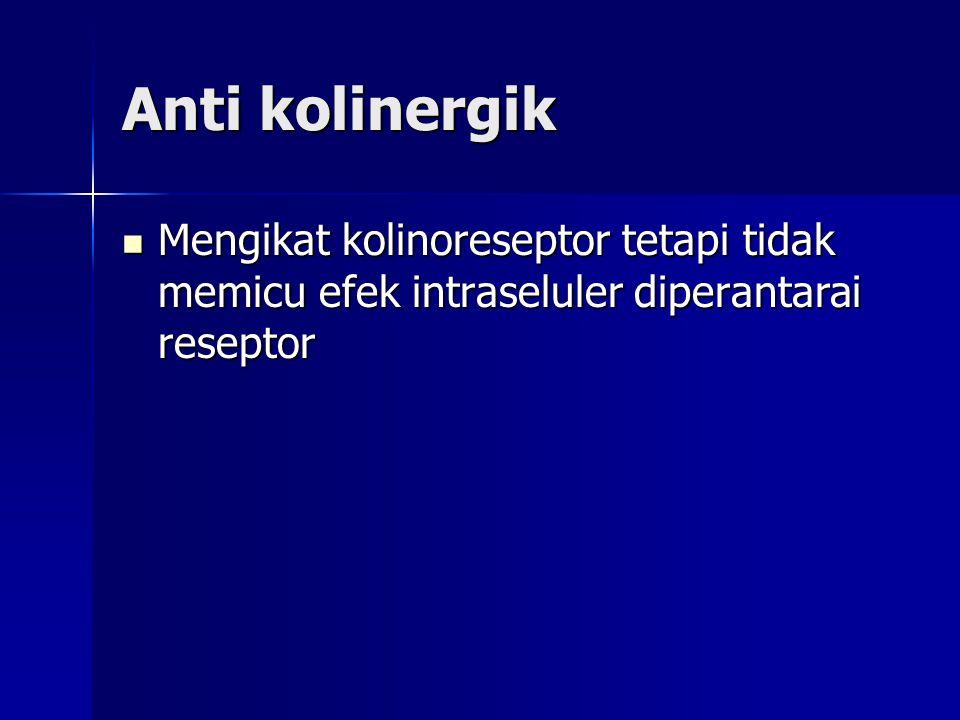 Anti kolinergik Mengikat kolinoreseptor tetapi tidak memicu efek intraseluler diperantarai reseptor