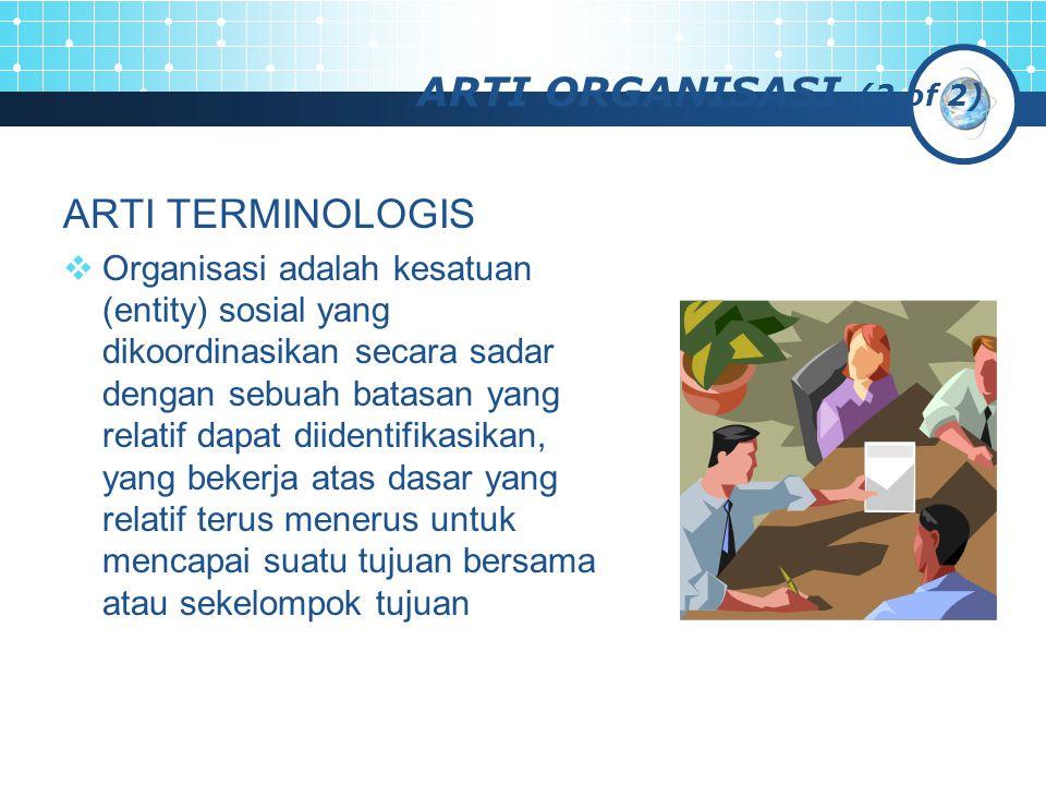 ARTI ORGANISASI (2 of 2) ARTI TERMINOLOGIS