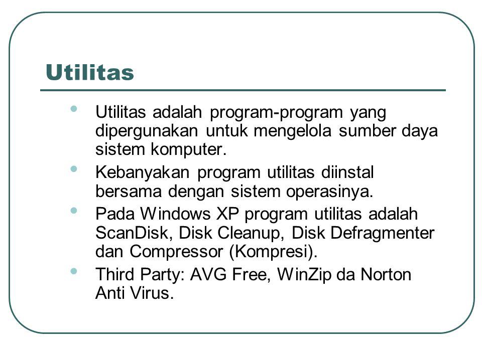 Utilitas Utilitas adalah program-program yang dipergunakan untuk mengelola sumber daya sistem komputer.