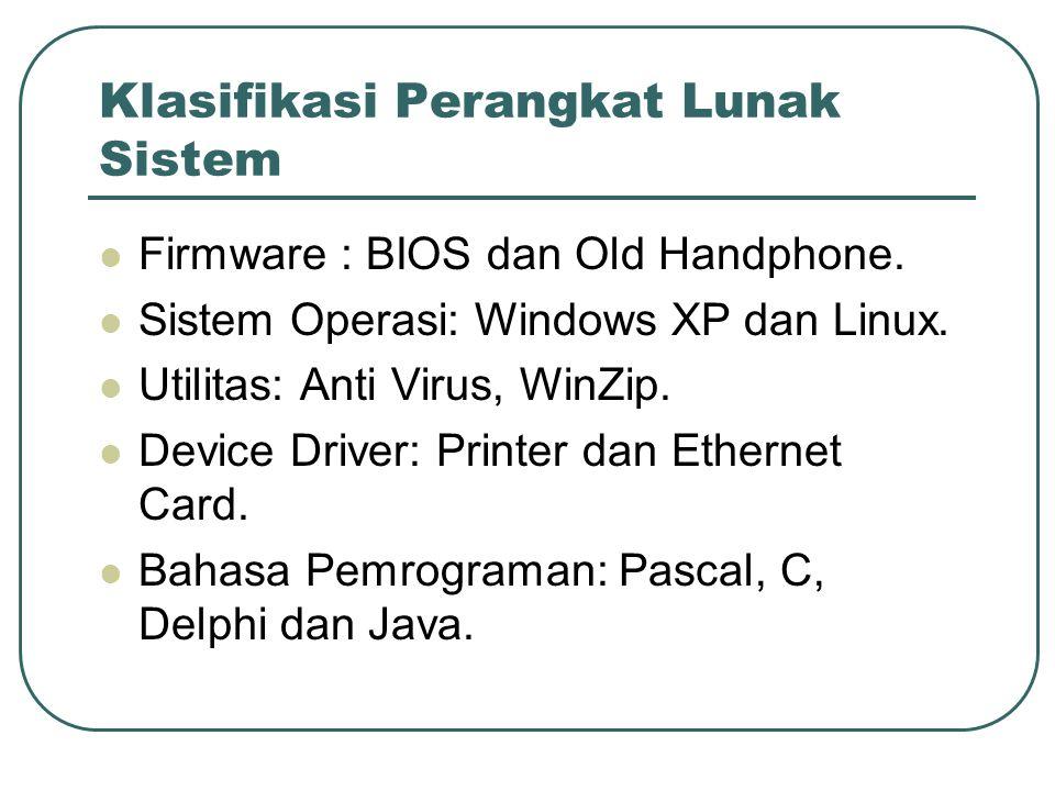 Klasifikasi Perangkat Lunak Sistem