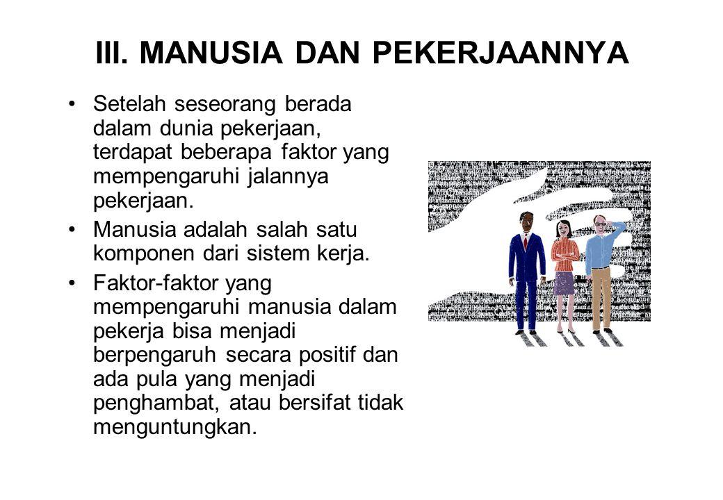 III. MANUSIA DAN PEKERJAANNYA