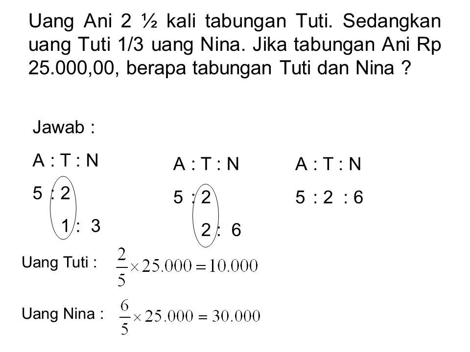Uang Ani 2 ½ kali tabungan Tuti. Sedangkan uang Tuti 1/3 uang Nina