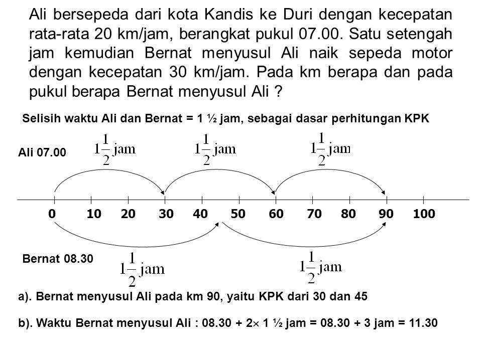 Ali bersepeda dari kota Kandis ke Duri dengan kecepatan rata-rata 20 km/jam, berangkat pukul 07.00. Satu setengah jam kemudian Bernat menyusul Ali naik sepeda motor dengan kecepatan 30 km/jam. Pada km berapa dan pada pukul berapa Bernat menyusul Ali