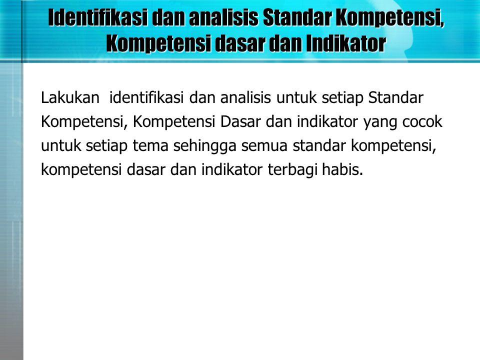 Identifikasi dan analisis Standar Kompetensi, Kompetensi dasar dan Indikator