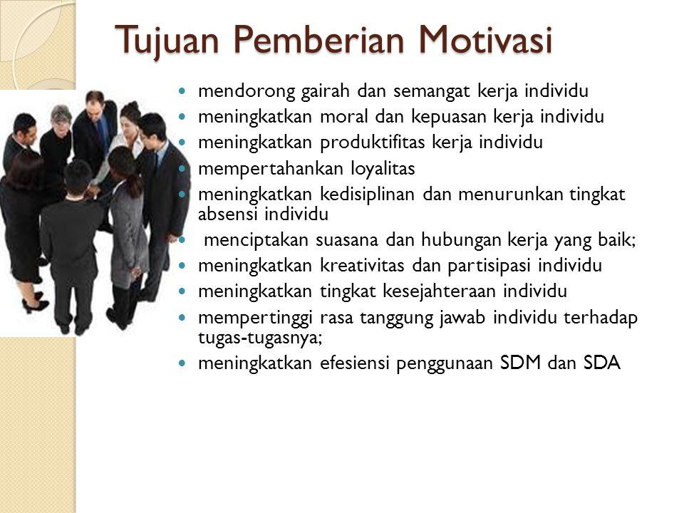 Tujuan Pemberian Motivasi