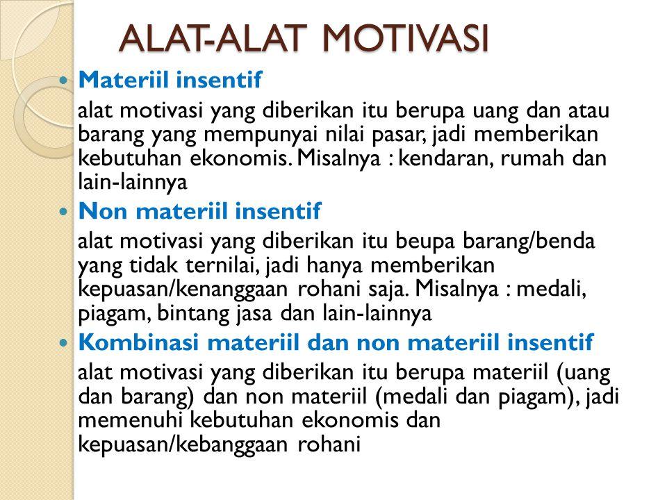ALAT-ALAT MOTIVASI Materiil insentif