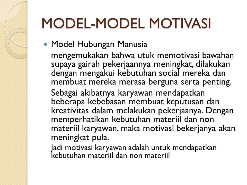 MODEL-MODEL MOTIVASI Model Hubungan Manusia