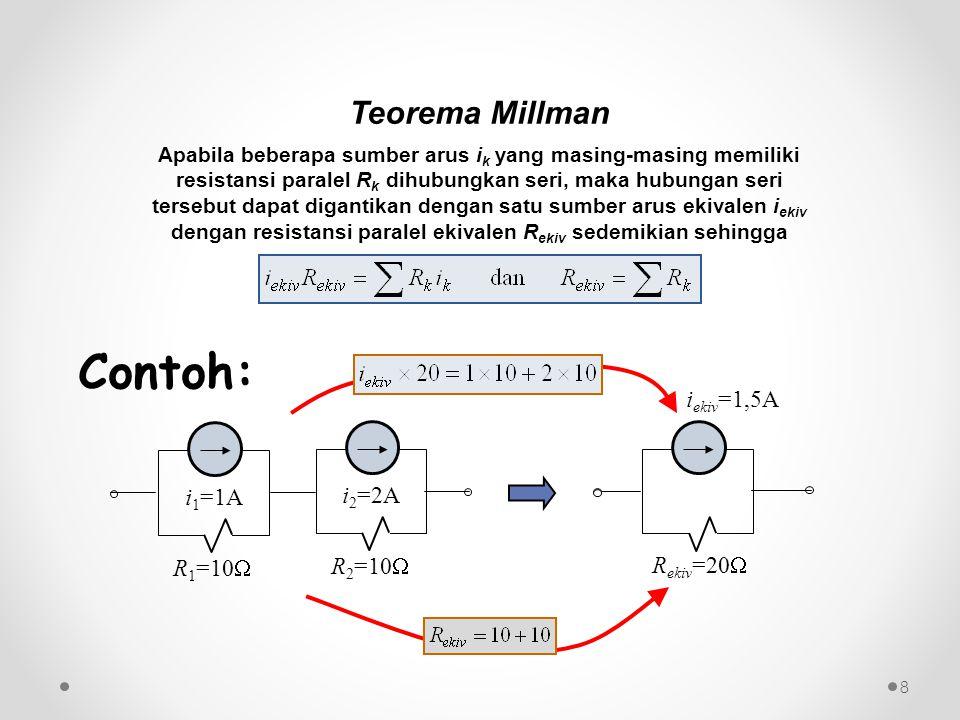 Contoh: Teorema Millman iekiv=1,5A i1=1A i2=2A R1=10 R2=10 Rekiv=20