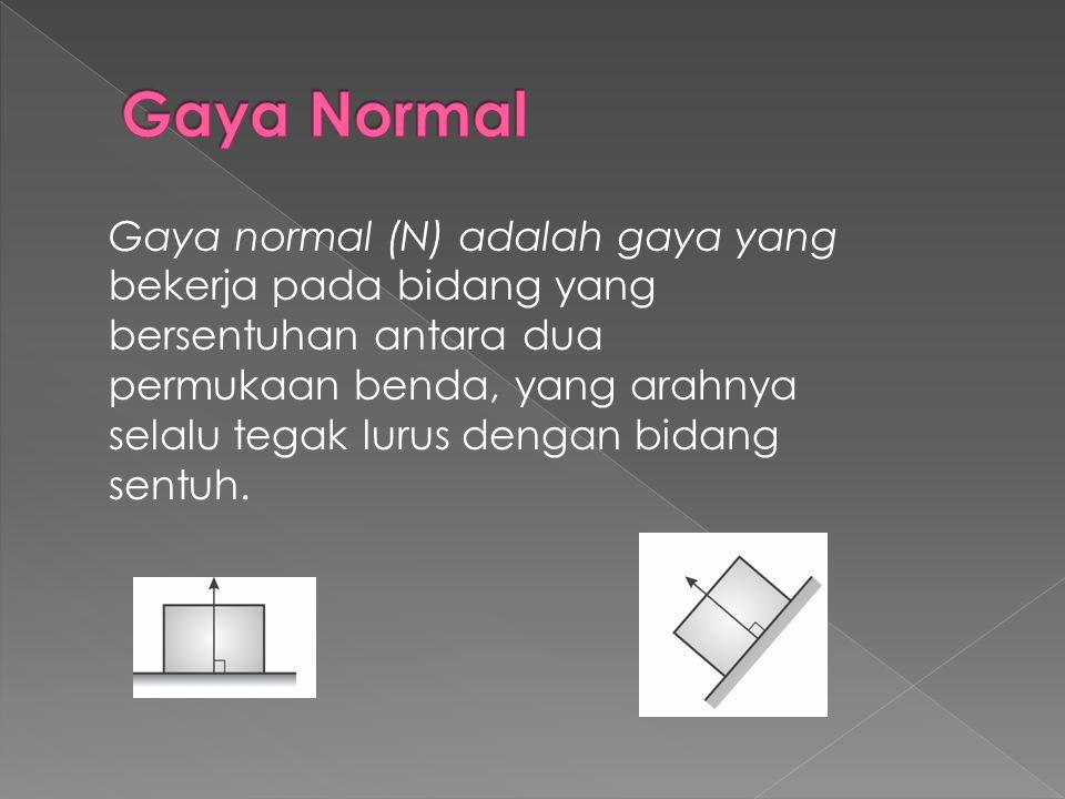 Gaya Normal Gaya normal (N) adalah gaya yang bekerja pada bidang yang bersentuhan antara dua.