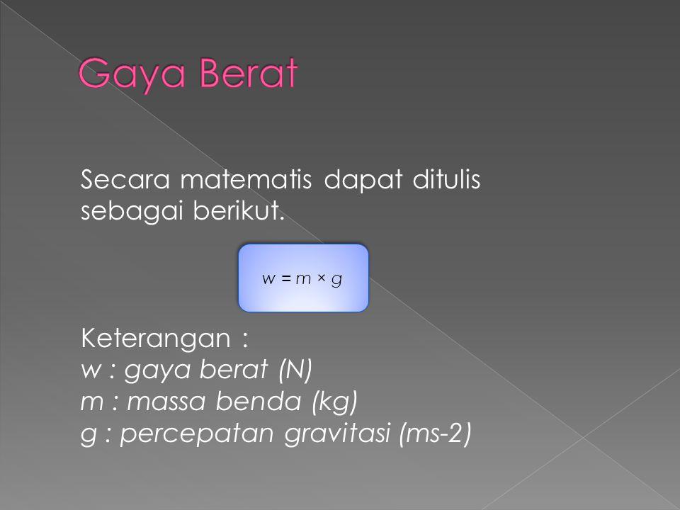 Gaya Berat Secara matematis dapat ditulis sebagai berikut.