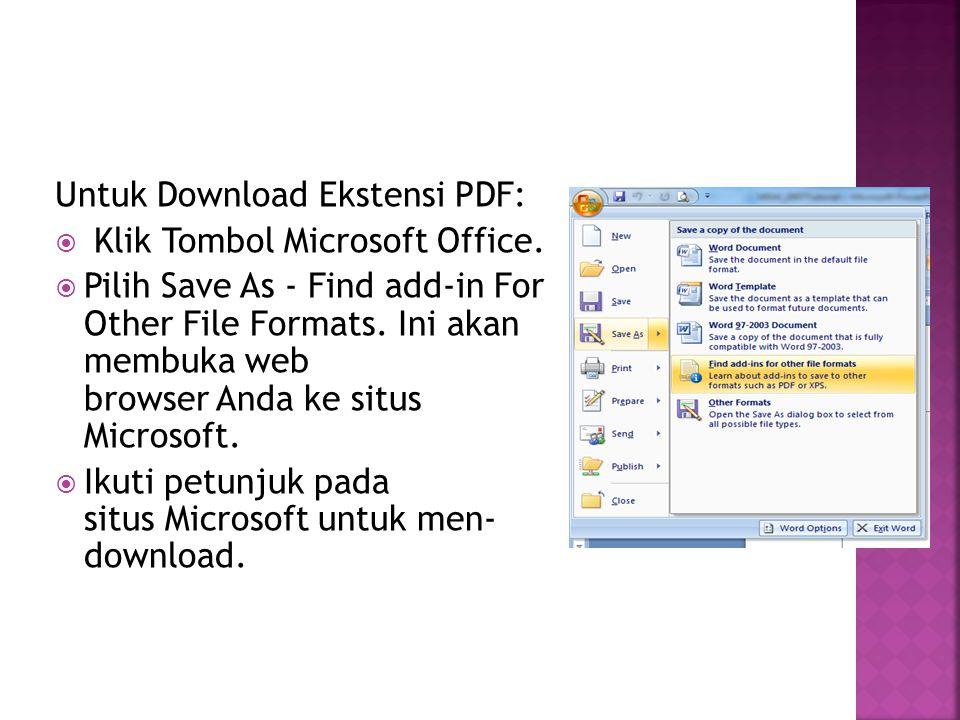 Untuk Download Ekstensi PDF:
