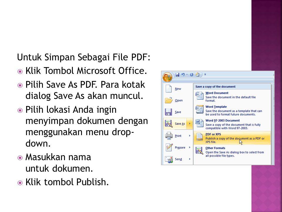 Untuk Simpan Sebagai File PDF: