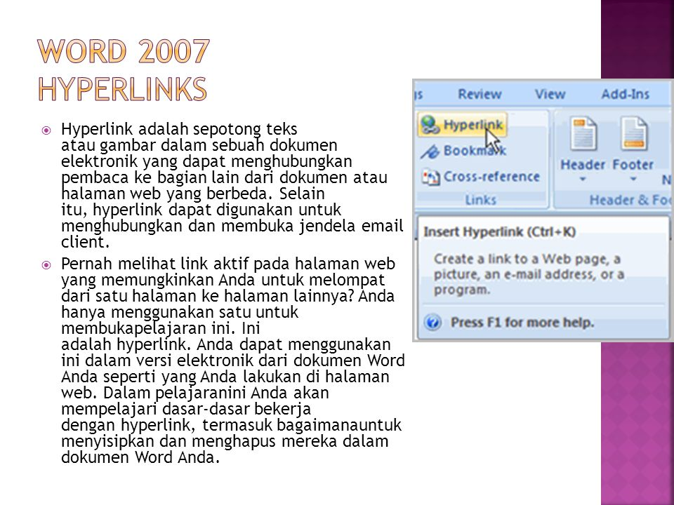 Word 2007 Hyperlinks
