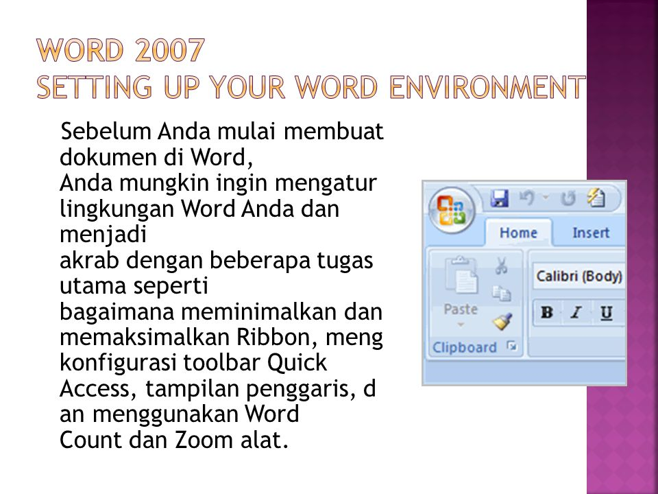 Word 2007 Setting Up Your Word Environment