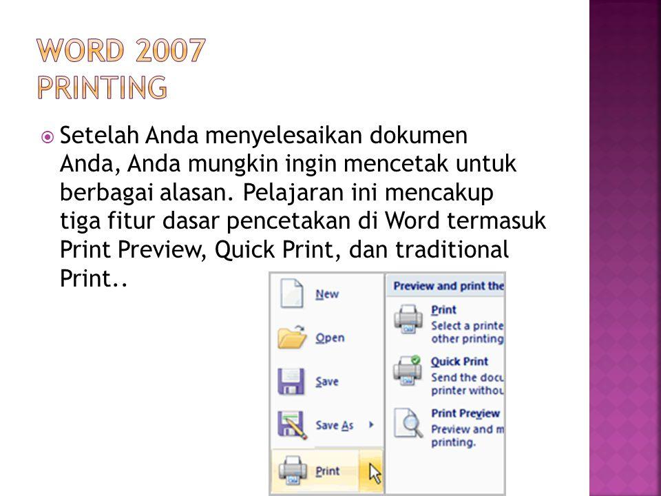 Word 2007 Printing