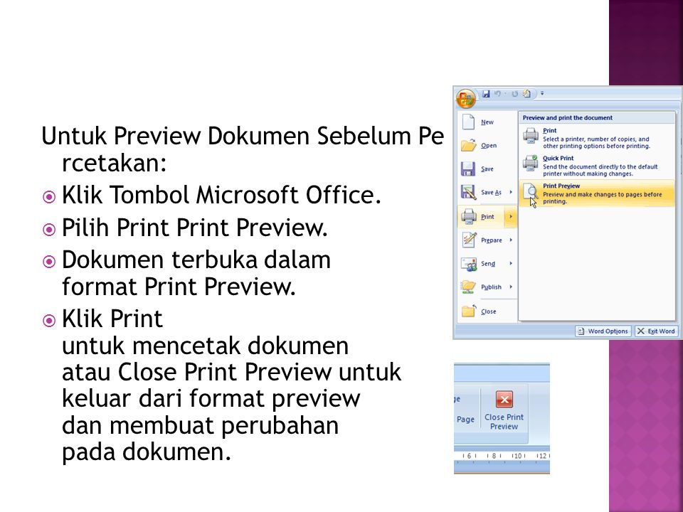 Untuk Preview Dokumen Sebelum Pe rcetakan: