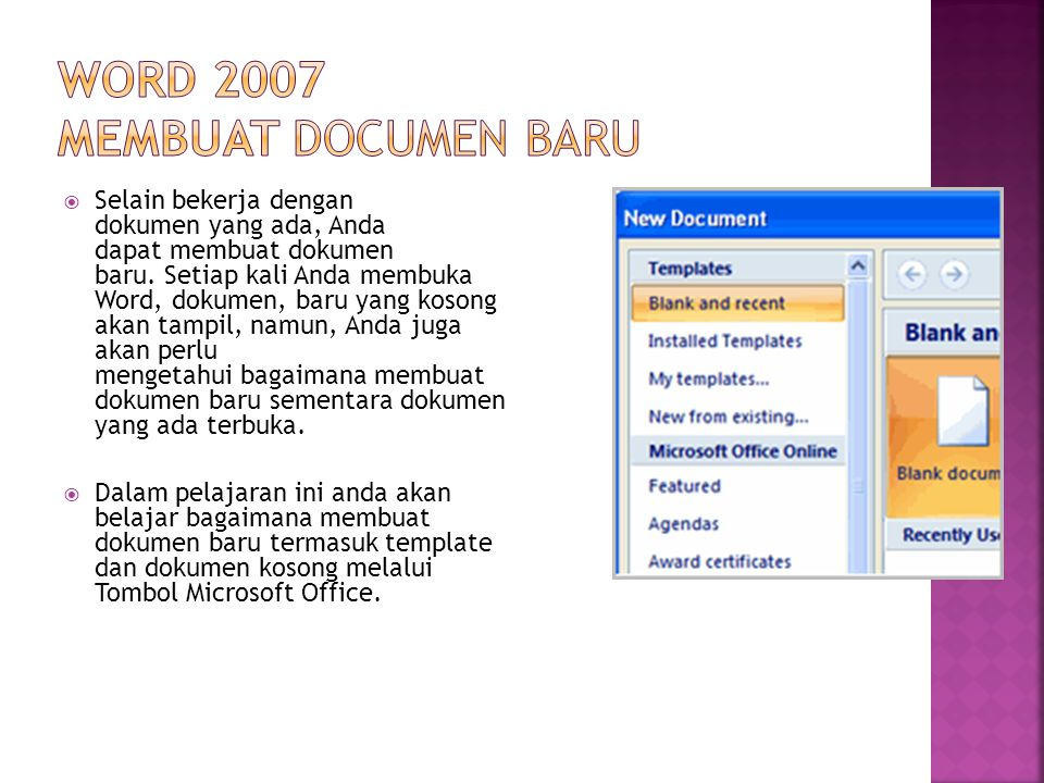 Word 2007 MEMBUAT Documen BAru