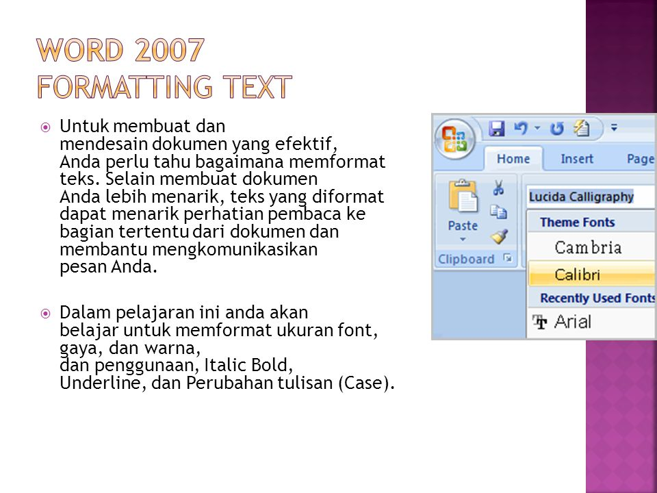 Word 2007 Formatting Text