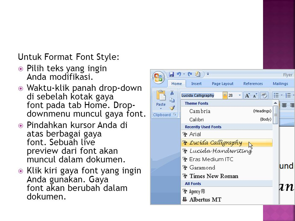 Untuk Format Font Style: