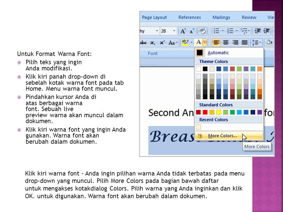Untuk Format Warna Font: