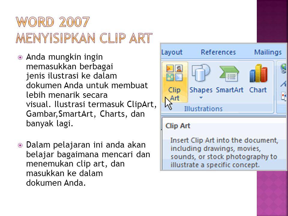 Word 2007 menyisipkan Clip Art