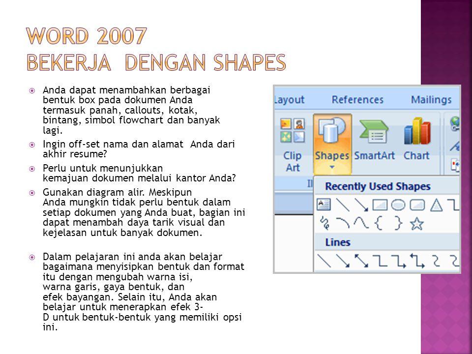 Word 2007 Bekerja dengan Shapes