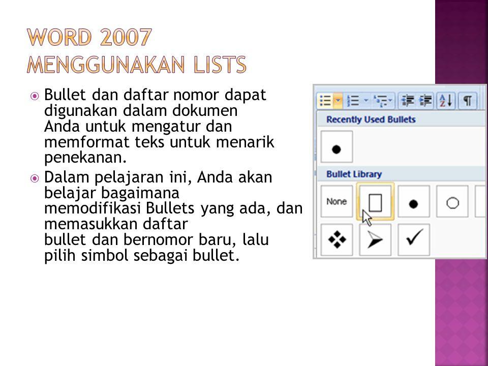 Word 2007 Menggunakan Lists
