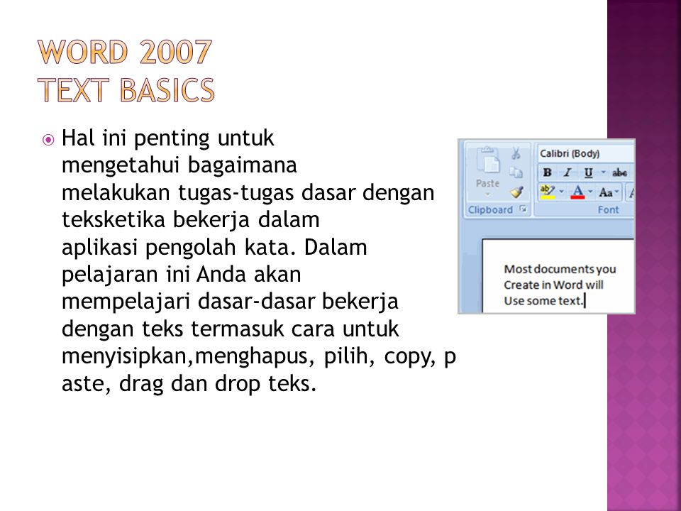 Word 2007 Text Basics