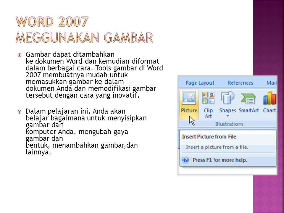 Word 2007 Meggunakan gambar