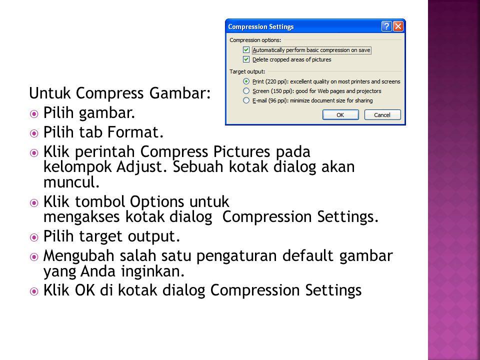 Untuk Compress Gambar: