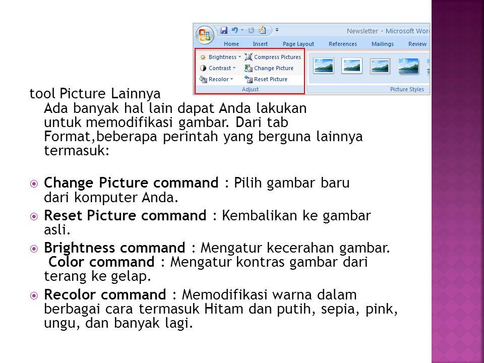 tool Picture Lainnya Ada banyak hal lain dapat Anda lakukan untuk memodifikasi gambar. Dari tab Format,beberapa perintah yang berguna lainnya termasuk: